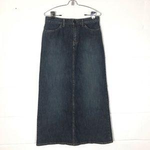 Long denim pencil skirt Sz 4 eddie bauer jean